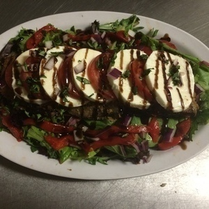 Fired Eggplant Stack with Fresh Mozzarella and Balsamic Reduction