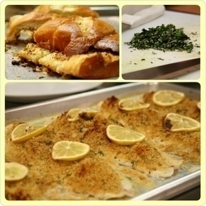 Fish Filet, topped with garlic, butter, & breadcrumbs