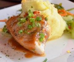 Swordfish w/ Miso Glaze, Wasabi Mashed Potatoes & Japanese Vegetable Medley